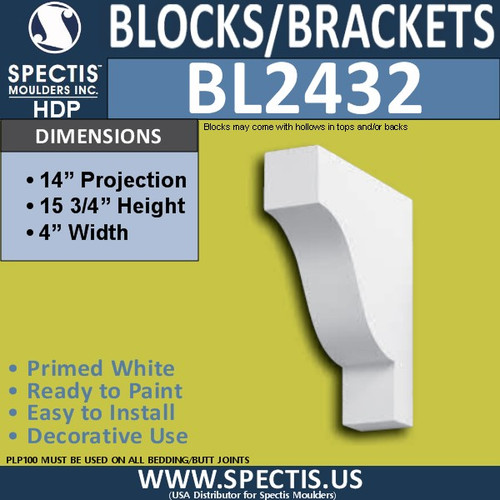 "BL2432 Eave Block or Bracket 4""W x 15.75""H x 14"" P"