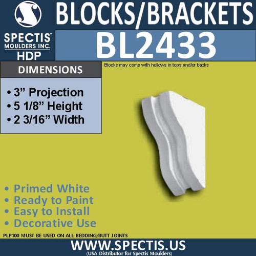 "BL2433 Eave Block or Bracket 2""W x 5""H x 3"" P"
