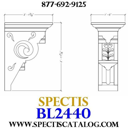 "BL2440 Corbel Block or Eave Bracket 17.75""W x 35.5""H x 25"" P"