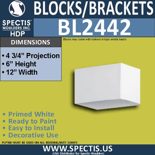 "BL2442 Eave Block or Bracket 12""W x 6""H x 4.75"" P"