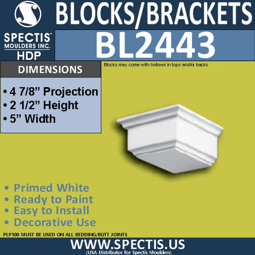 "BL2443 Eave Block or Bracket 5""W x 2.5""H x 4.75"" P"