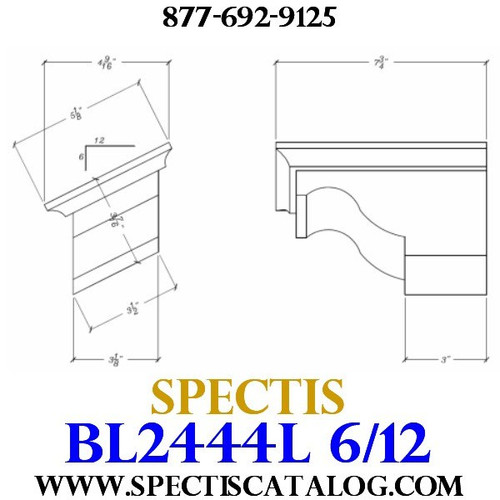 "BL2444L-6/12 Pitch Corbel Block or Bracket 5""W x 4""H x 8"" P"