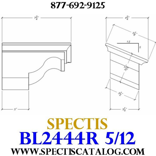"BL2444R-5/12 Pitch Corbel Block or Bracket 5""W x 4""H x 8"" P"