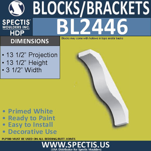 "BL2446 Eave Block or Bracket 2""W x 2""H x 13.5"" P"