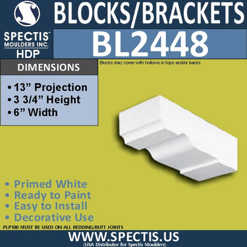 "BL2448 Eave Block or Bracket 6""W x 3.75""H x 13"" P"