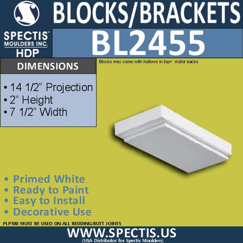 "BL2455 Eave Block or Bracket 7.5""W x 2""H x 14.25"" P"
