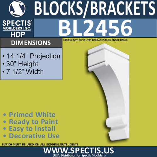 "BL2456 Eave Block or Bracket 7""W x 30""H x 14.25"" P"