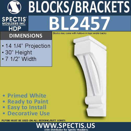 "BL2457 Eave Block or Bracket 7.5""W x 30""H x 14.5"" P"