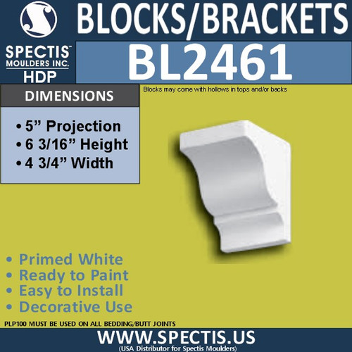"BL2461 Eave Block or Bracket 4.75""W x 6""H x 5"" P"