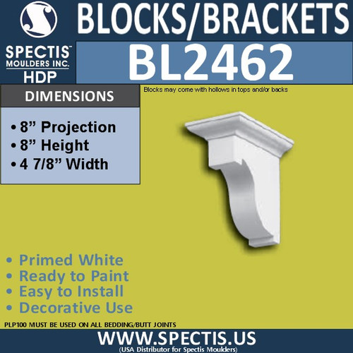 "BL2462 Eave Block or Bracket 5""W x 8""H x 8"" P"
