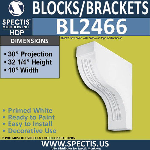"BL2466 Eave Block or Bracket 10""W x 32""H x 30"" P"