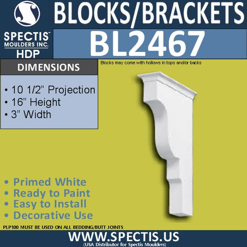 "BL2467 Eave Block or Bracket 3""W x 16""H x 10.5"" P"