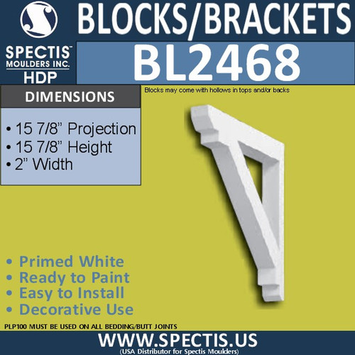"BL2468 Eave Block or Bracket 2""W x 16""H x 16"" P"