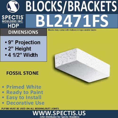 "BL2471FS Eave Block or Bracket 4.5""W x 2""H x 9"" P"