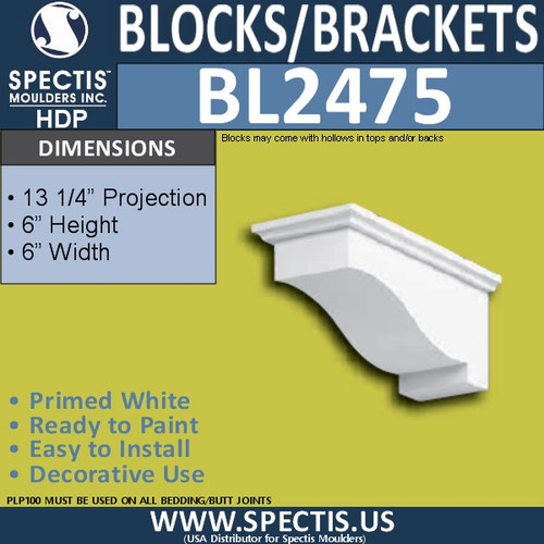 "BL2475 Eave Block or Bracket 6""W x 6""H x 13.25"" P"