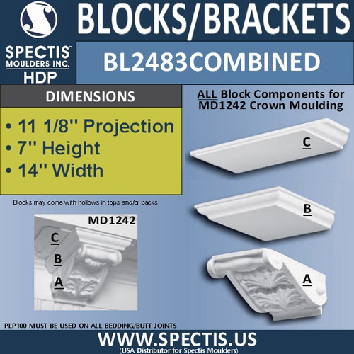 """BL2483 Combined Eave Block or Bracket 14""""W x 7""""H x 11"""" P"""