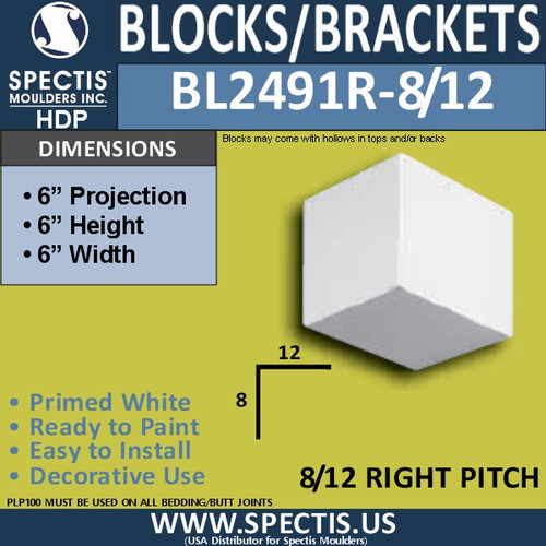 "BL2491R-8/12 Pitch Eave Block or Bracket 6""W x 6""H x 6"" P"