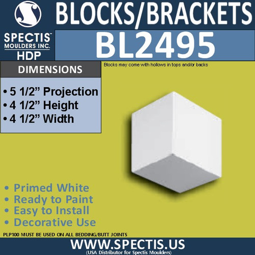 "BL2495 Eave Block or Bracket 4.5""W x 4.5""H x 5.5"" P"