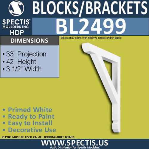 "BL2499 Eave Block or Bracket 3.5""W x 42""H x 33"" P"