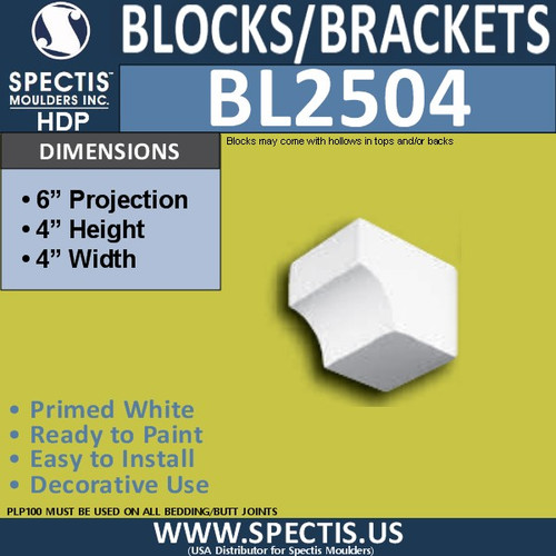 "BL2504 Eave Block or Bracket 4""W x 4""H x 6"" P"