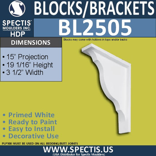 "BL2505 Eave Block or Bracket 3.5""W x 19""H x 15"" P"