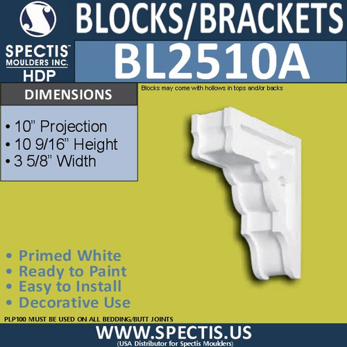 "BL2510A Eave Block or Bracket 3.5""W x 10.75""H x 10"" P"