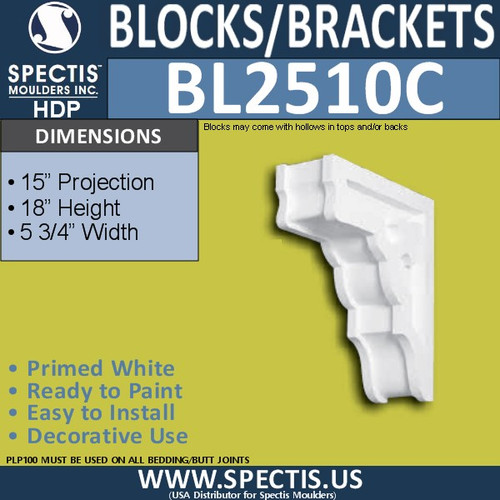 "BL2510C Eave Block or Bracket 5.75""W x 17.75""H x 15"" P"