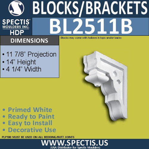 "BL2511B Eave Block or Bracket 4""W x 14""H x 12"" P"