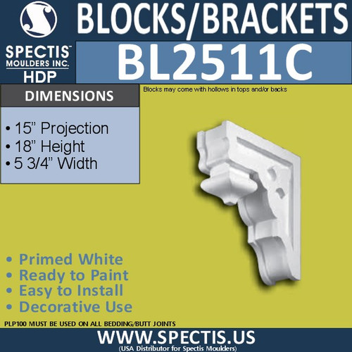 "BL2511C Eave Block or Bracket 5.75""W x 17.75""H x 15"" P"
