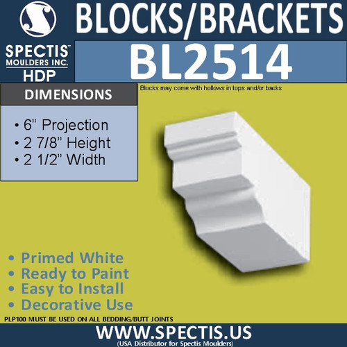 "BL2514 Eave Block or Bracket 2.5""W x 3""H x 6"" P"