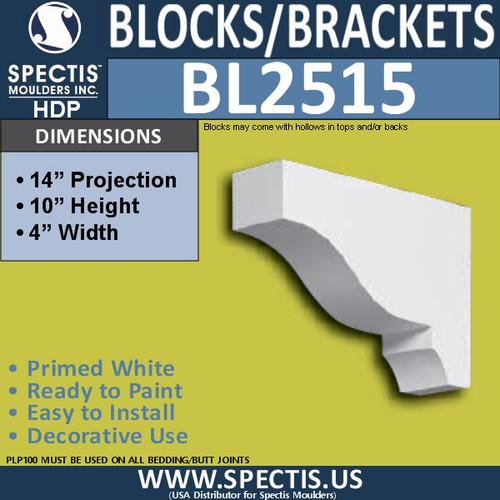 "BL2515 Eave Block or Bracket 4""W x 10""H x 14"" P"