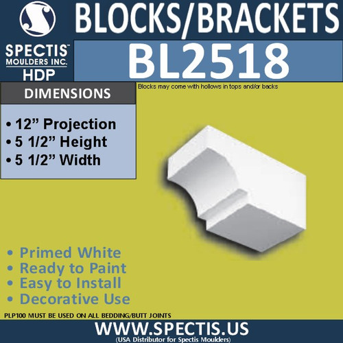 "BL2518 Eave Block or Bracket 5.5""W x 5.5""H x 12"" P"