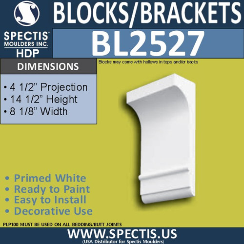 "BL2527 Eave Block or Bracket 8.12""W x 14.5""H x 4.5"" P"