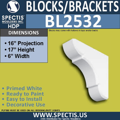 "BL2532 Eave Block or Bracket 6""W x 17""H x 16"" P"