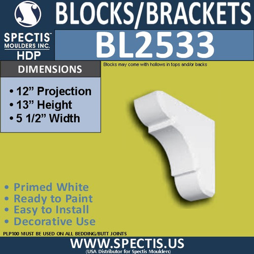 "BL2533 Eave Block or Bracket 5.5""W x 13""H x 12"" P"