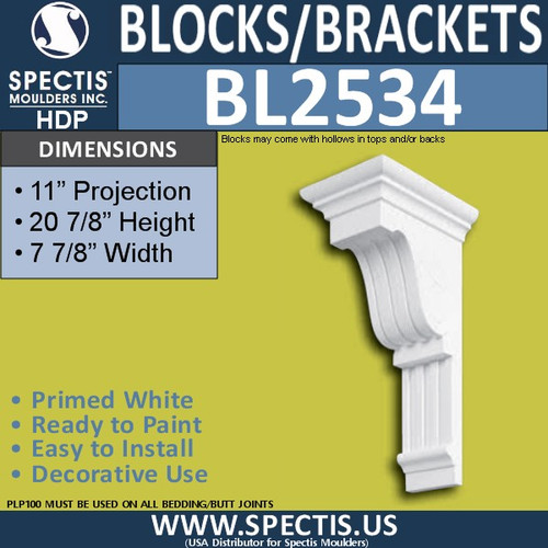 "BL2534 Eave Block or Bracket 7.75""W x 21""H x 11"" P"