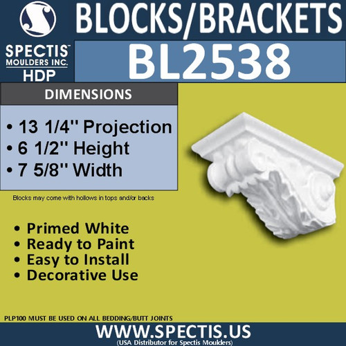 "BL2538 Eave Block or Bracket 7.5""W x 6.5""H x 13.25"" P"