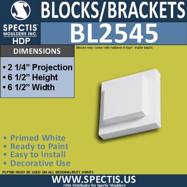 "BL2545 Eave Block or Bracket 6.5""W x 6.5""H x 2.25"" P"