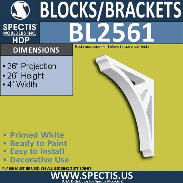 "BL2561 Eave Block or Bracket 4""W x 26""H x 26"" P"