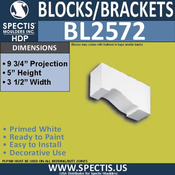 "BL2572 Eave Block or Bracket 3.5""W x 5""H x 9.75"" P"