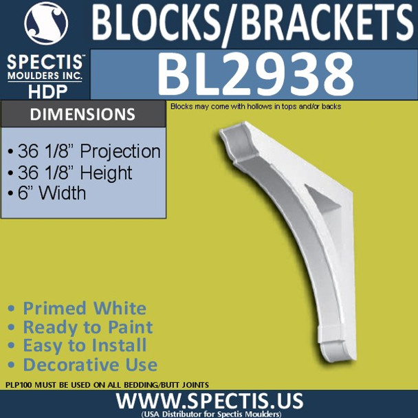 "BL2938 Eave Block or Bracket 6""W x 36 1/8""""H x 36 1/8"""" P"