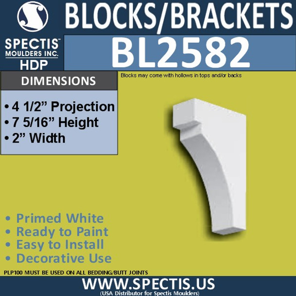 "BL2582 Eave Block or Bracket 2""W x 7""H x 4.5"" P"