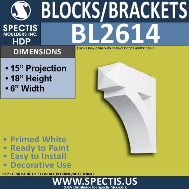 "BL2614 Eave Block or Bracket 6""W x 18""H x 15"" P"