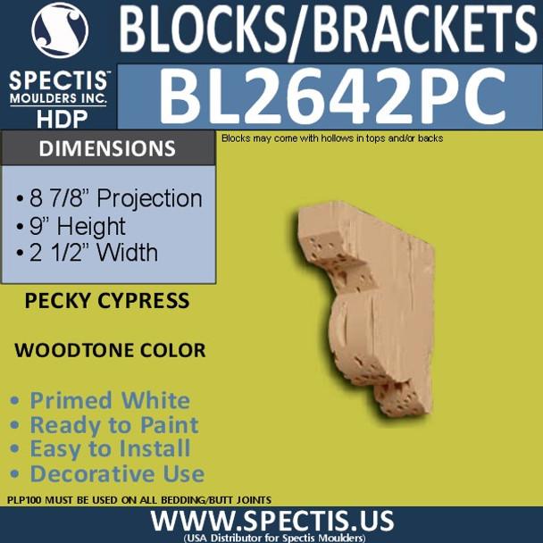 """BL2642PC Pecky Cypress Bracket 2.5""""W x 2.5""""H x 8.9"""" P"""