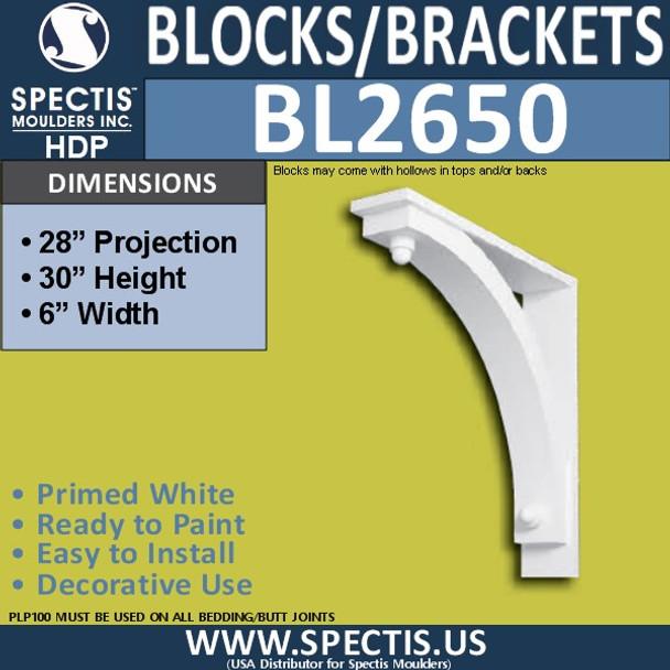 "BL2650 Eave Block or Bracket 6""W x 30""H x 28"" P"