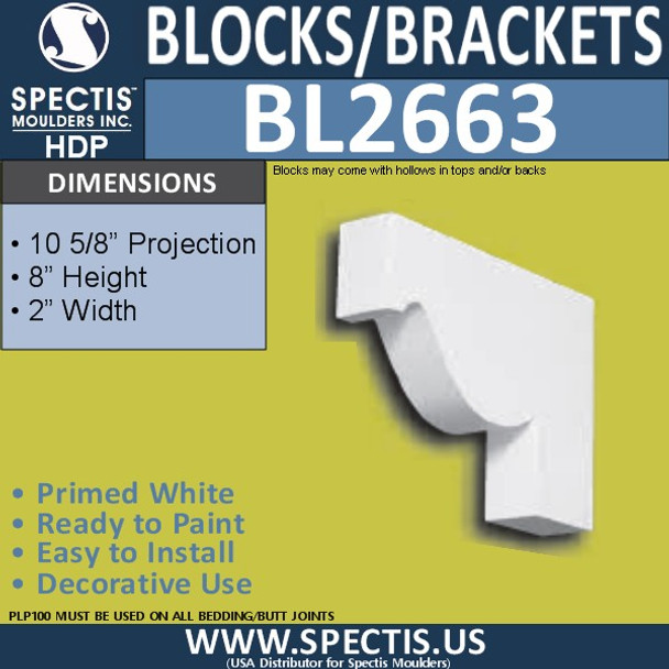"BL2663 Eave Block or Bracket 2""W x 8""H x 10.6"" P"