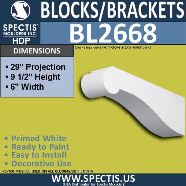 "BL2668 Eave Block or Bracket 6""W x 9.5""H x 29"" P"