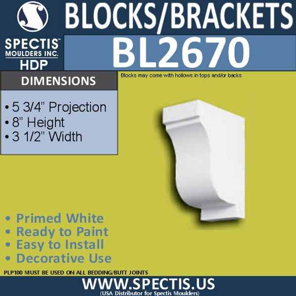 "BL2670 Eave Block or Bracket 3.5""W x 8""H x 5.75"" P"