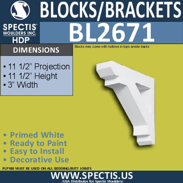 "BL2671 Eave Block or Bracket 3""W x 11.5""H x 11.5"" P"