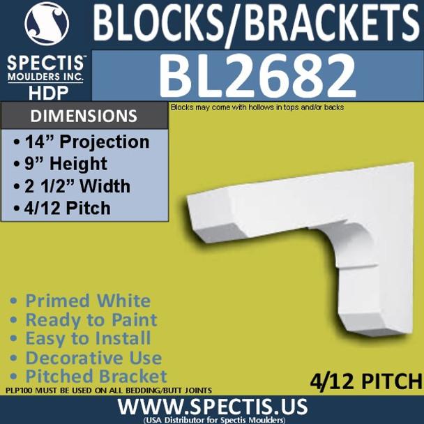 "BL2682 Eave Block or Bracket 2.5""W x 9""H x 14"" P"